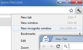 google chome incognito window