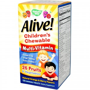 Nature's Way, Alive! Children's Chewable Multi-Vitamin, Natural Orange & Berry Flavors, 120 Chewable Tablets