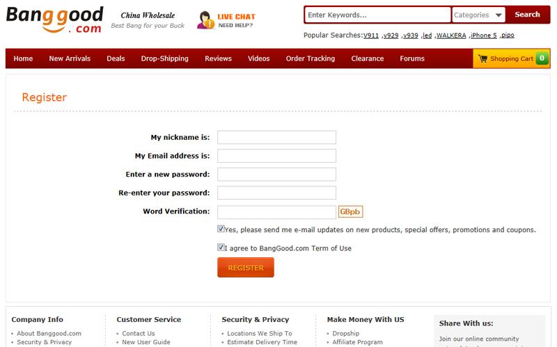 регистрация в banggood