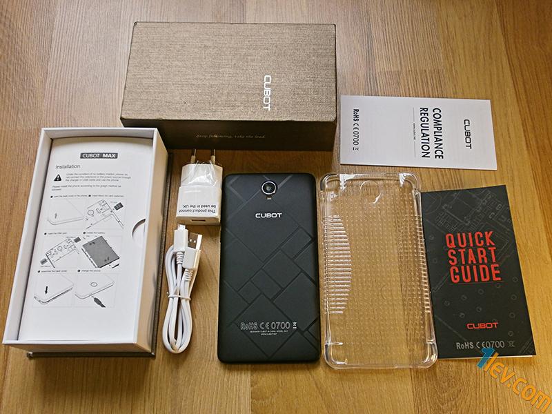 кутия, зарядно, USB кабел, телефон, силиконов протектор, инструкции