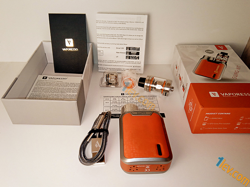 Vaporesso Swag мод,NRG SE атомайзер с 3.5мл, Допълнителен стъклен цилиндър, уплътнения, допълнителна GT CCELL изпарителна глава, инструкции, USB кабел и документация