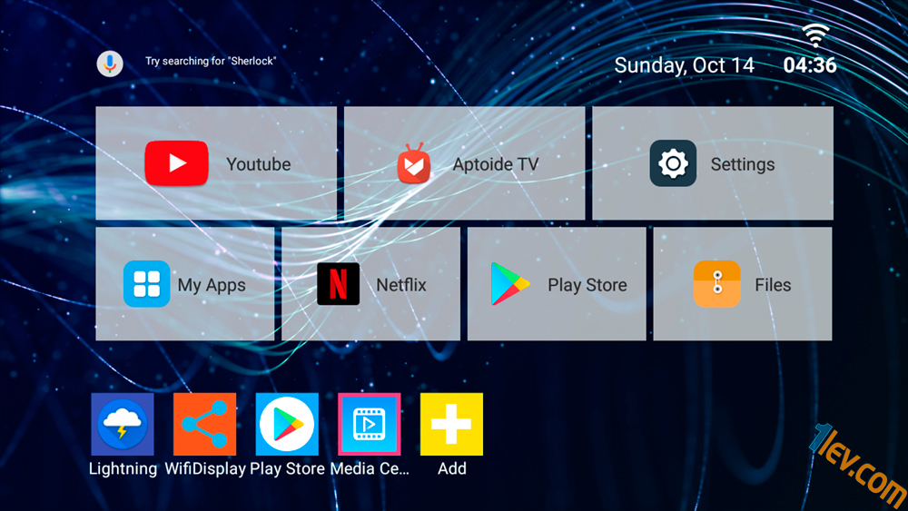 Alfawise A8 ползва Mediabox launcher. Начален екран