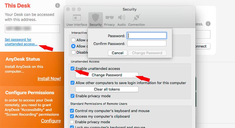 изберете Set password for unattended access, активирайте опцията и поставете парола.